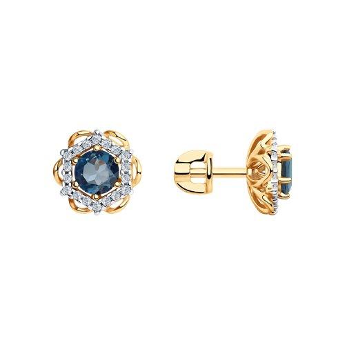 Серьги из золота с синими топазами и фианитами (726098) - фото