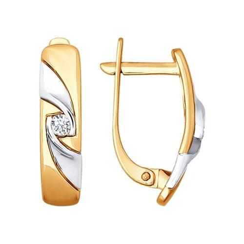 Серьги из комбинированного золота с бриллиантами (1020869) - фото