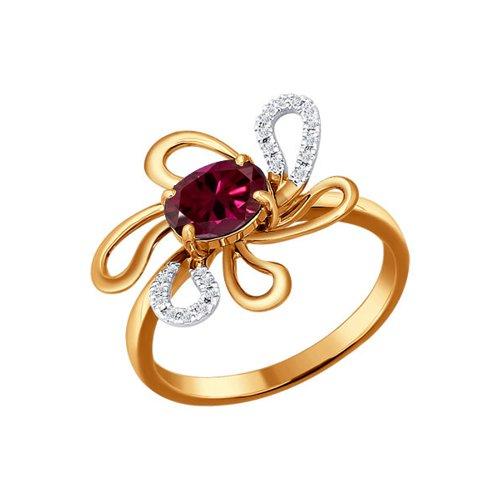 Кольцо с рубином в виде цветка SOKOLOV exclaim брошь в виде цветка