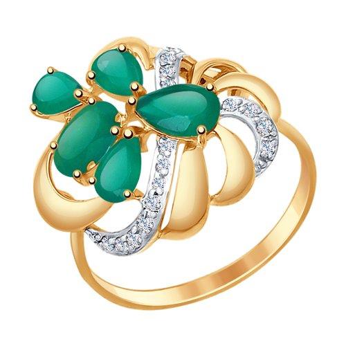 Кольцо из золота с агатами и фианитами (37714753) - фото
