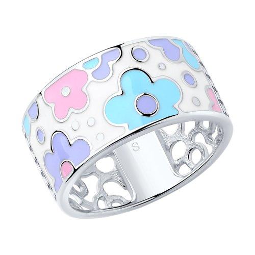 Кольцо из серебра с эмалью (94012867) - фото