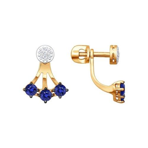 Серьги-пусеты из золота с бриллиантами и корундами сапфировыми (синт.)