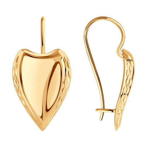 Серьги из золота с алмазной гранью (027163) - фото
