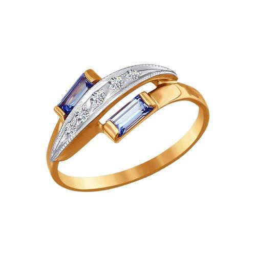 Кольцо SOKOLOV из комбинированного золота с голубыми фианитами кольцо sokolov из комбинированного золота с голубыми фианитами