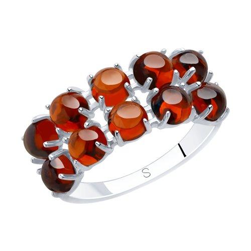 Кольцо из серебра с гранатами (92011895) - фото