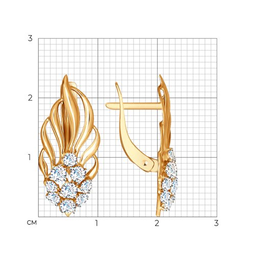 Серьги из золота с фианитами (027405) - фото №2
