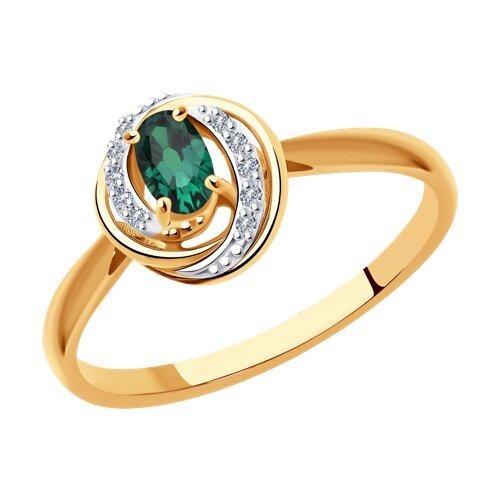 Кольцо из золота с бриллиантами и изумрудом 3010567 SOKOLOV фото