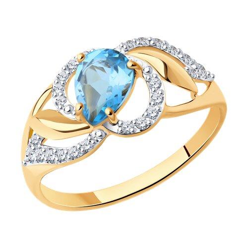 Кольцо из золота с голубым топазом и фианитами (714457) - фото