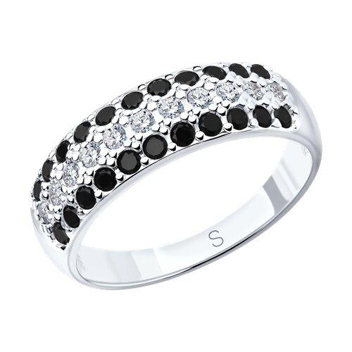 Кольцо из серебра с фианитами (94010064) - фото