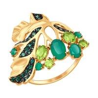 Кольцо «Листок» из золота с миксом камней