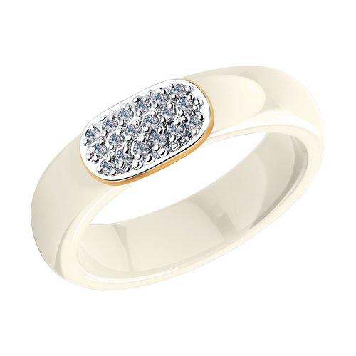 цены Кольцо из золота с бриллиантами и керамикой