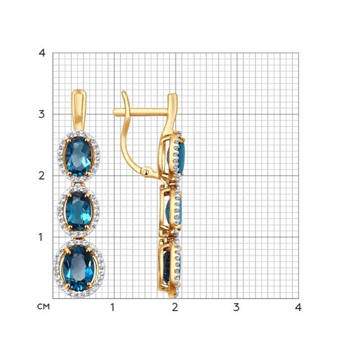 Серьги из золота с топазами и фианитами (724175) - фото №2