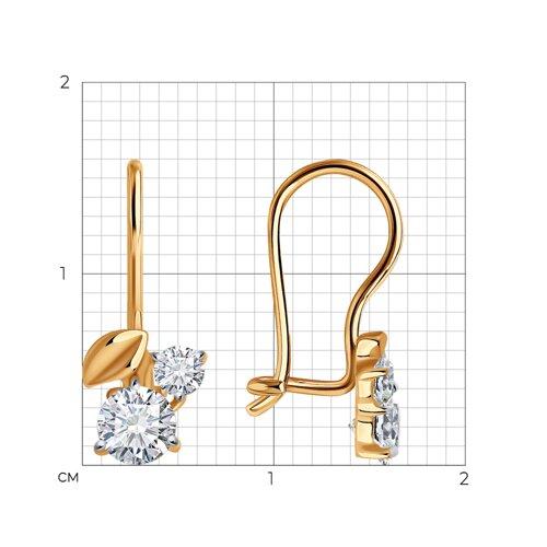 Серьги из золота с фианитами (026836) - фото №2