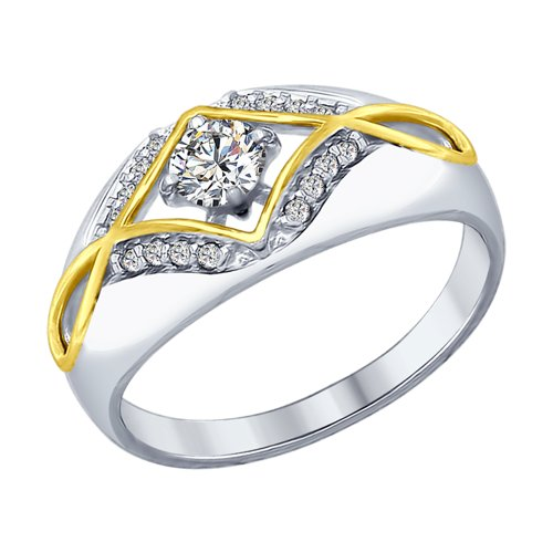 Кольцо из серебра с фианитами (94012571) - фото