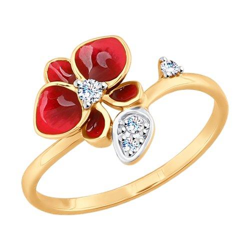 Кольцо из золота с эмалью и фианитами (8-010012) - фото