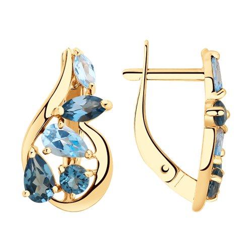 Серьги из золота с голубыми и синими топазами (725818) - фото