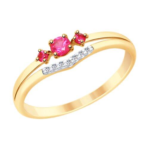 Кольцо из золота с красными корунд (синт.) и фианитами (715325) - фото