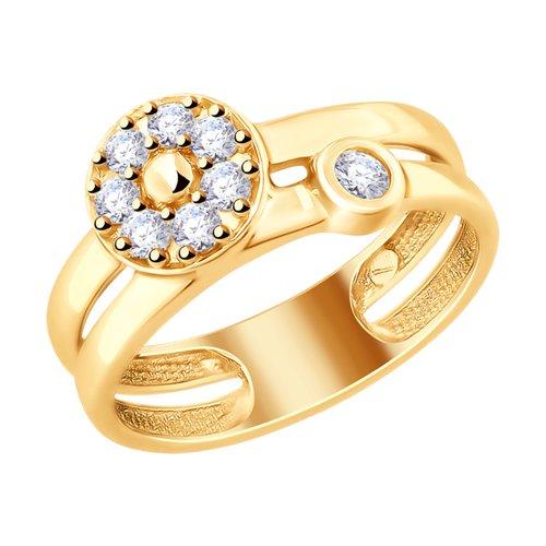 Кольцо из золочёного серебра с фианитами (93010730) - фото