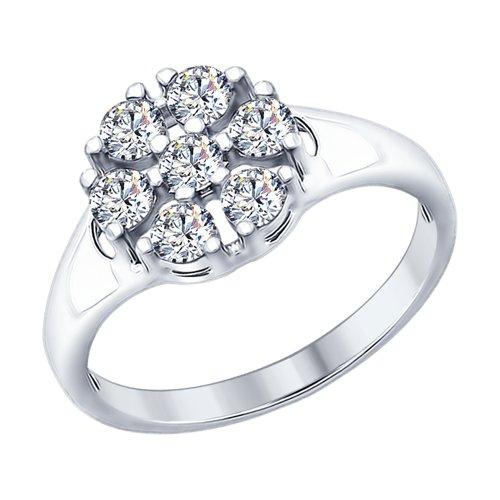 Кольцо из серебра с фианитами (94012297) - фото