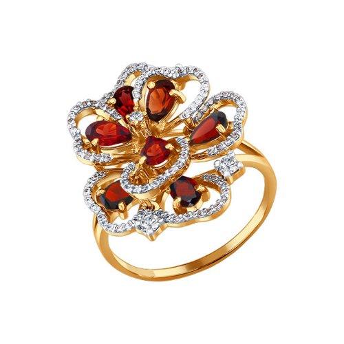 Золотое кольцо с гранатами и фианитами SOKOLOV золотое кольцо ювелирное изделие 01k663088