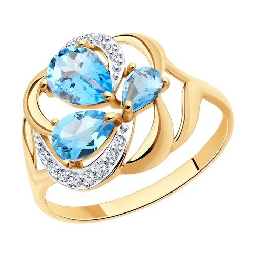 Кольцо из золота с топазами и фианитами (714754) - фото