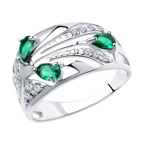 Кольцо из серебра с зелеными фианитами (94010368) - фото