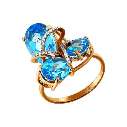 Кольцо SOKOLOV из золота c топазами и фианитами кольцо из золота с топазами и фианитами