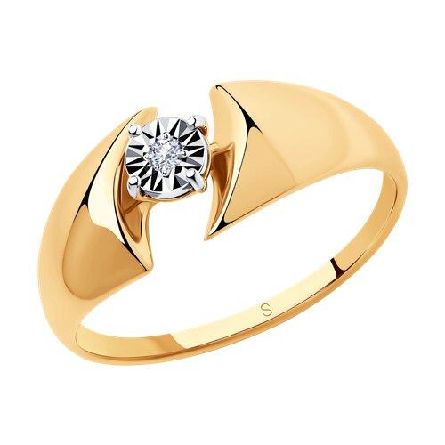 Кольцо из золота с бриллиантом (1011411) - фото