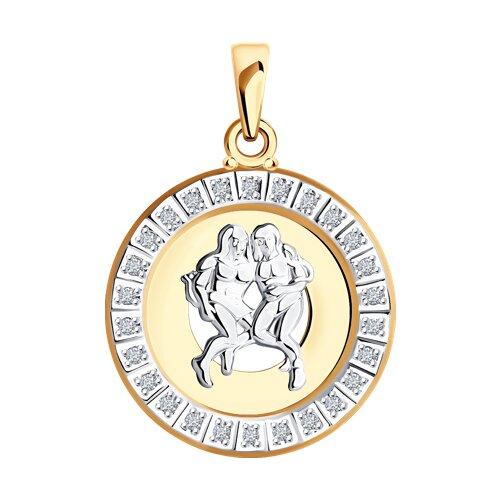 Фото - Подвеска «Знак зодиака Близнецы» с фианитами SOKOLOV am 812 брелок знак зодиака близнецы латунь янтарь