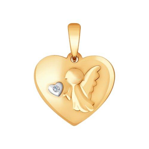 Золотая подвеска «Ангел» с бриллиантом (1030648) - фото