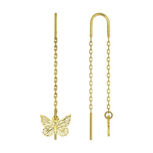 Серьги из желтого золота с алмазной гранью 025416-2 SOKOLOV фото