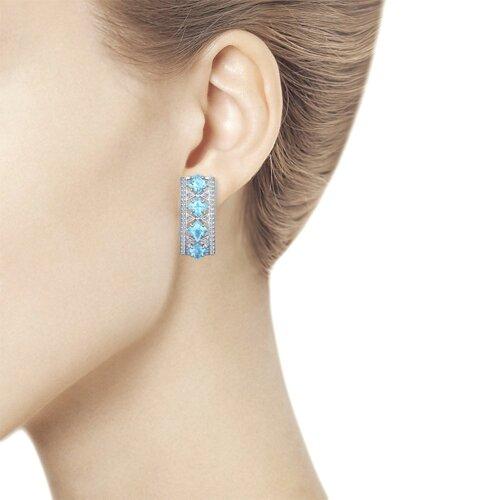 Серьги из серебра с голубыми топазами и фианитами (92021339) - фото №3