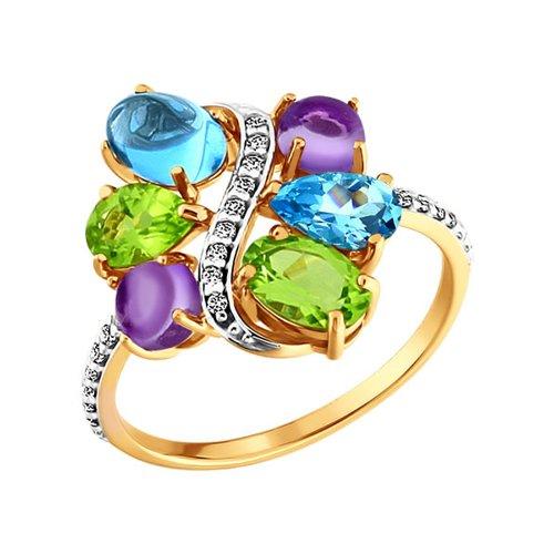 Золотое кольцо с миксом SOKOLOV из камней золотое кольцо ювелирное изделие 01k663088