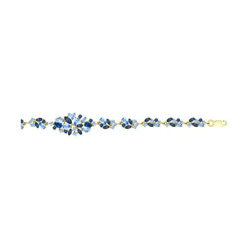 Браслет из желтого золота с голубыми и синими топазами (51750257) - фото