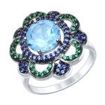 Кольцо из серебра с топазом и зелеными и синими фианитами