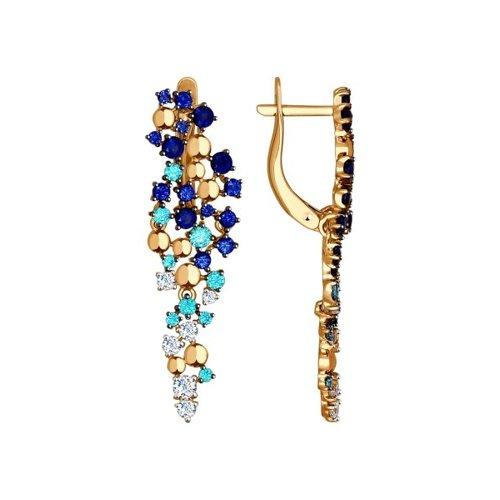 Серьги длинные SOKOLOV из золота с бесцветными, зелеными и синими фианитами подвеска из комбинированного золота с бесцветными и синими фианитами