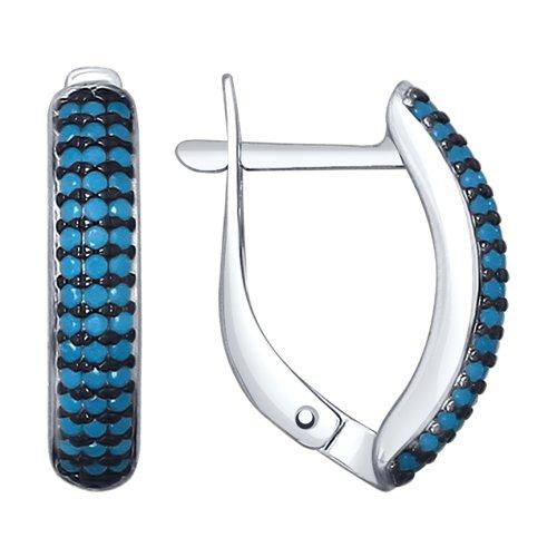 Серьги из серебра с голубыми ситаллами (94022560) - фото