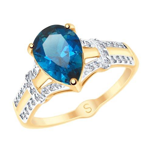 Кольцо из золота с синим топазом и фианитами (715102) - фото