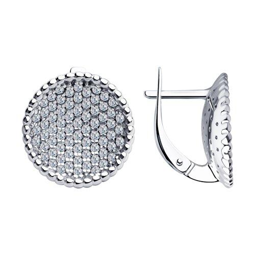 Серьги из серебра с фианитами (94023526) - фото