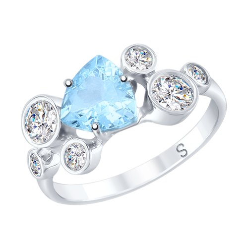 Кольцо из серебра с топазом и фианитами (92011712) - фото