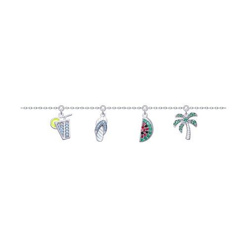 Браслет из серебра с эмалью и фианитами (94050474) - фото