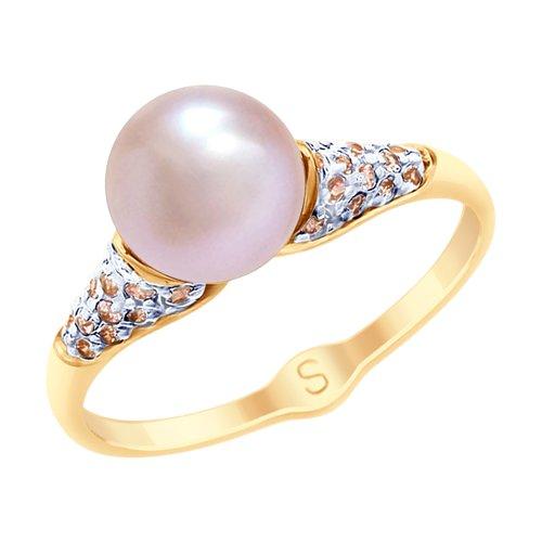 Кольцо из золота с розовым жемчугом и фианитами (791064) - фото