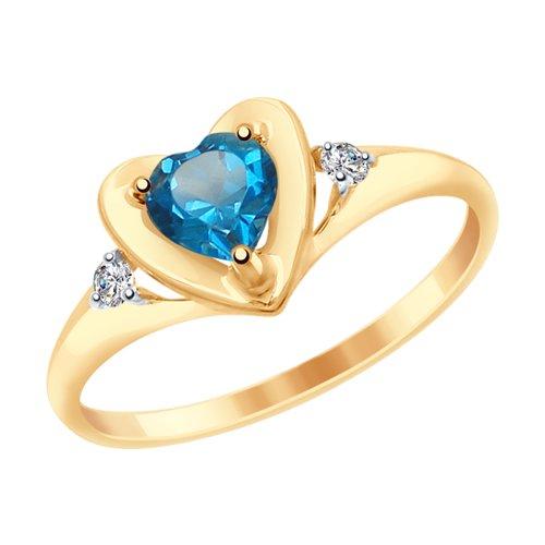 Кольцо из золота с синим топазом и фианитами (37715043) - фото