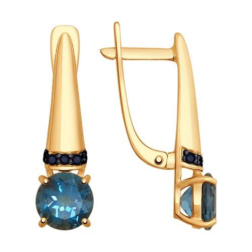 Серьги из золота с синими топазами и чёрными фианитами (725265) - фото