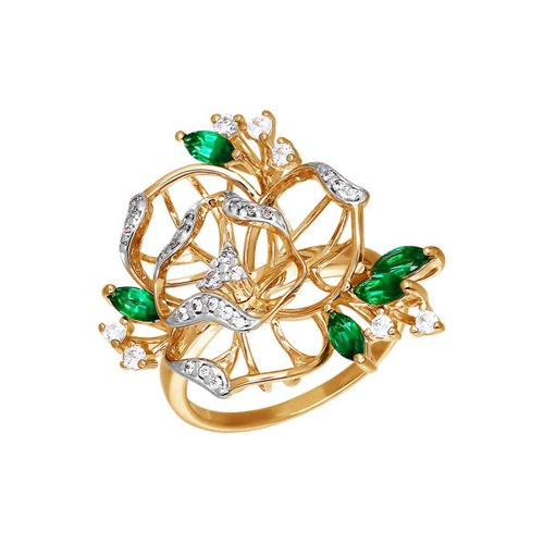 Золотое кольцо в форме цветов с зелёными фианитами SOKOLOV золотое кольцо ювелирное изделие k 11013