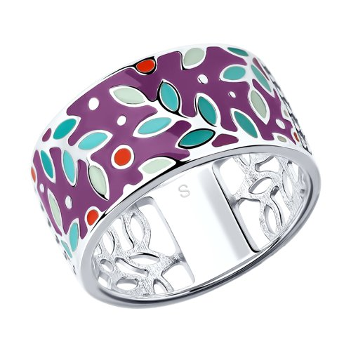 Кольцо из серебра с эмалью