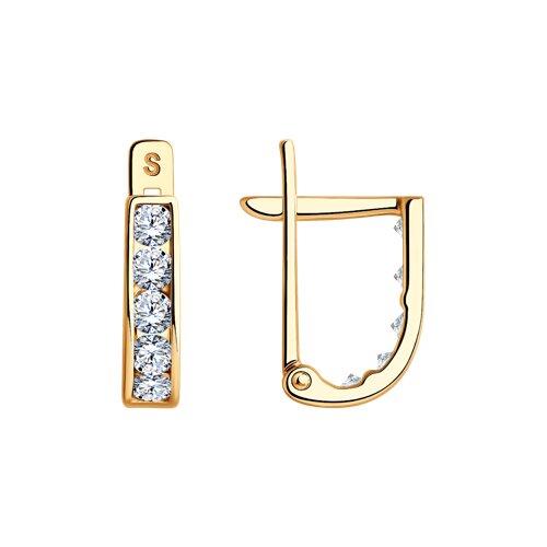 Серьги из золота с фианитами (021499-4) - фото