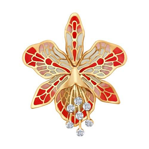 Брошь из золота с эмалью с бриллиантами (6049006) - фото