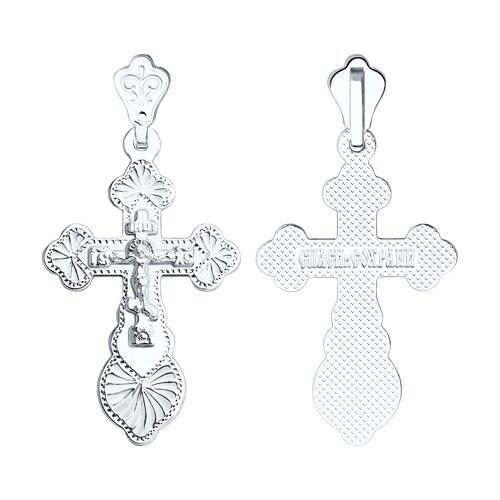 Крест из серебра с гравировкой (94120081) - фото