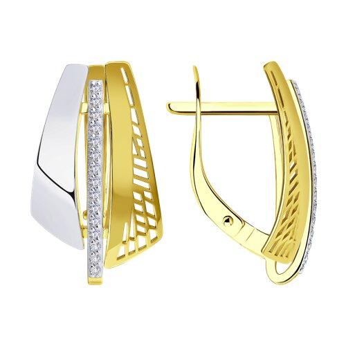 Серьги из желтого золота с фианитами 028820-2 SOKOLOV фото
